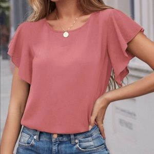 Flutter sleeve knot back blouse
